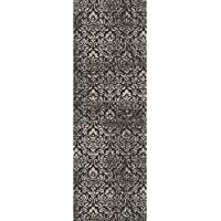 2.25 x 7.75 Bantu Damask Granite Gray and Ebony Black Area Throw Rug Runner