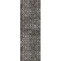 2.25 x 7.75 Bantu Damask Granite Gray and Ebony Black Area Throw Rug Runner