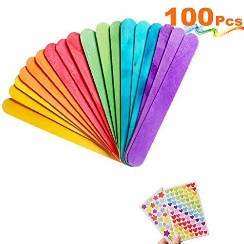 MOZOLAND Colored Craft Stick Natural Jumbo Wood Popsicle Sticks for DIY Crafts Creative Designs 100 PCS 6 Inches (Colored Sticks)