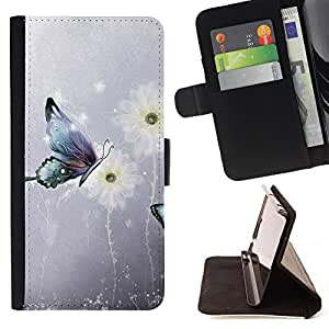 - Butterfly Design - - Premium PU Leather Wallet Case with Card Slots, Cash Compartment and Detachable Wrist Strap FOR Samsung Galaxy S3 MINI I8190 King case