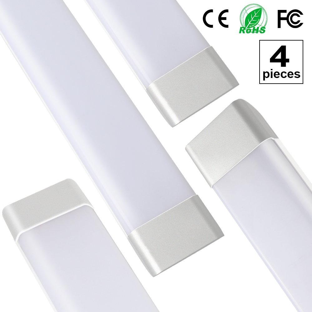 4-Pack 3ft/0.9m T11 Dustproof LED Integrated Tube Lights Fixture with Brackets Milky Cover 40W 85-265V 180 Degrees Beam Angle 3000LM Daylight 6500K T11JS90 by sansen lighting
