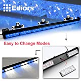 "Ediors 35.5"" LED 13 Modes Hazard Traffic Advisor Emergency Warning Tow Vehicle Auto Truck Strobe Light Bar Kit With Suction Cup (Blue)"
