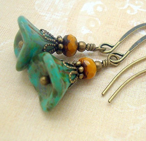 Boho Earrings with Greenish Blue Glass Flower and Goldenrod Bead