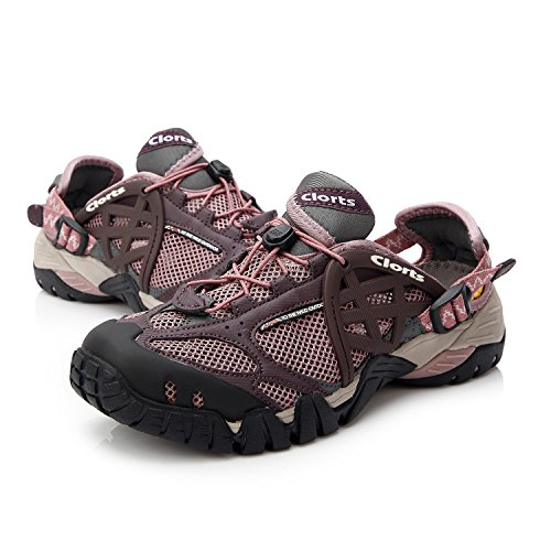 Clorts Women's Seaside Amphibious Athletic Pull On Water Shoe Hiking Water Sneaker Purple WT-05A US8.5