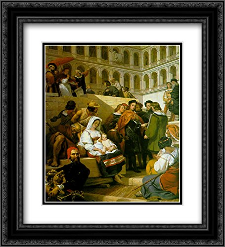 Horace Vernet 2X Matted 20x24 Black Ornate Framed Art Print 'Raphael and Pope Leo X'