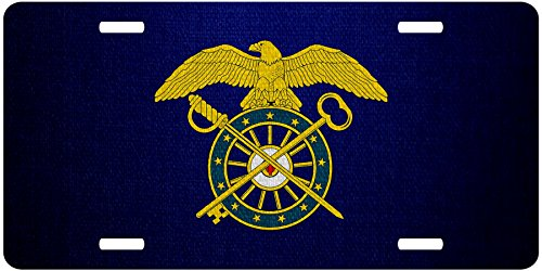 ExpressItBest Premium Aluminum License Plate - U.S. Army Quartermaster Corps, branch insignia