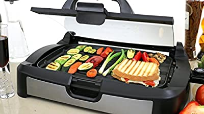 Ovente Reversible Electric Grill and Griddle with Heat Tempered Glass Lid, Indoor and Outdoor Grilling, 1700 Watts, Nickel Brushed (GR2001B)