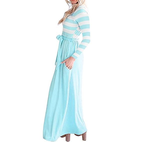 Vestido del Vendaje de Las señoras de la Raya, Beikoard Falda Larga de la Manga de la Camiseta: Amazon.es: Ropa y accesorios