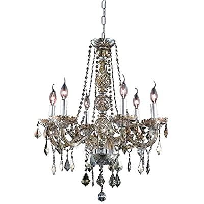 "Elegant Lighting 7856D24GT-GT/RC Royal Cut Smoky Golden Teak Crystal Verona 6-Light, Single-Tier Crystal Chandelier, 24"" x 28"", Golden Teak Finish"