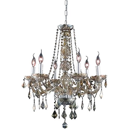 Elegant Lighting 7856D24GT-GT/RC Royal Cut Smoky Golden Teak Crystal Verona 6-Light, Single-Tier Crystal Chandelier, 24