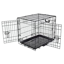 "Pet Magic 24"" Double Door Folding Crate, Leak-Proof Metal Tray 24L x 19H x 17W Inches, Small Dog Breed"