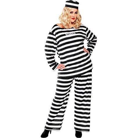 Adult Lady Lawless Prisoner Costume Plus (Plus Size Prisoner Costume)