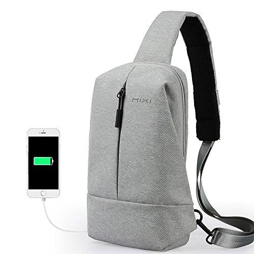 CrossBody Sling Bag Shoulder Chest Backpack Daypack Lightweight Casual Outdoor Sport Travel with USB Charging Port for Men Women Oscaurt (Dark Grey)