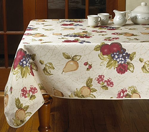 (Violet Linen European Paradise Oblong/Rectangle Fruits Vintage design Printed Tablecloth 52