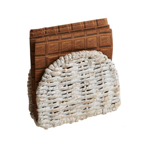Woodard & Charles Whitewash Abaca Oval Napkin Holder ()