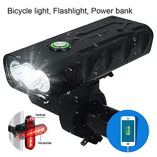 3 LED 1000 Lumen Bicycle Headlight USB Rechargeable Built in Battery Bike Light with Charging Function – Free LED Taillight Waterproof Accessories Aluminum Alloy Cycling Light Safety Flashlight