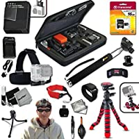 "Xtech® IDEAL ACCEESORIES KIT for GoPro HERO3 Hero 3 Hero3+ Includes Head Strap Mount, 16GB High Speed Memory Card + 12"" inch Highly Flexible Tripod + High Capacity AHDBT-302 Battery + AD/CD Quick Charger + Custom Large size Case, Hand Held Monopod + Floating Foam Strap + Remote Wrist Strap + Universal Card Reader + Mini Table Tripod + Ultra Fine HeroFiber Cleaning Cloth"