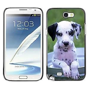 // CIUDAD ACTUAL MECELL // SmartPhone funda carcasa fresco plástico Duro PC caso de imagen para Samsung Note 2 N7100 /// Dalmata cachorro de perro blanco negro ///