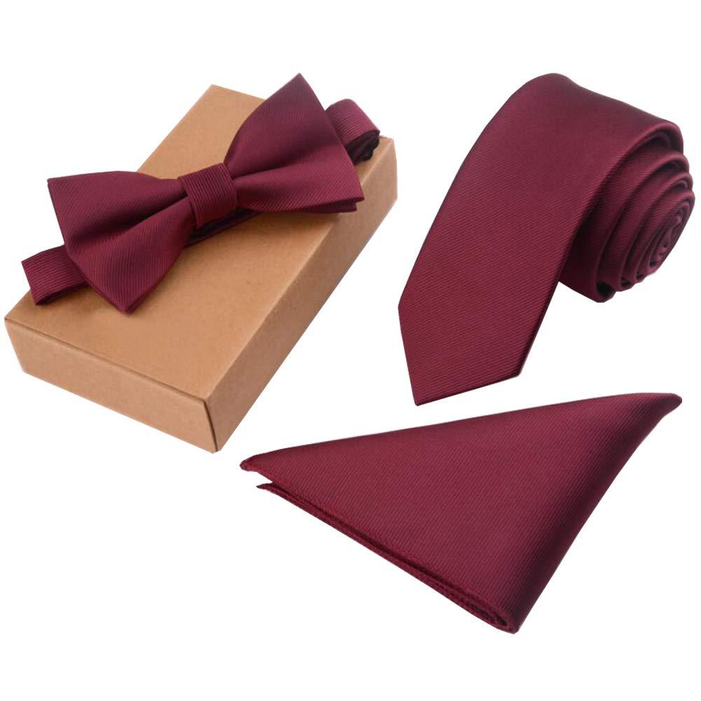 Lanburch Fashionable Premium Formal/Informal Ties Set, Necktie/Bow Tie/Pocket Square for Mens/Boys, Wine