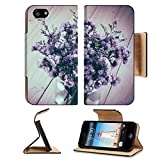 Luxlady Premium Apple iPhone 5 iphone 5S Flip Pu Leather Wallet Case iPhone5 IMAGE ID: 44356374 statice flower bouquet on wood background soft focus with vintage film filter