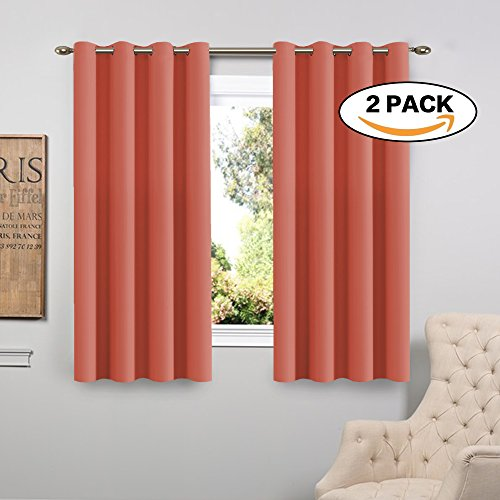 FlamingoP Living Room Curtains, Light Blocking Solid Pattern Drape, Noise Reducing, Grommet Top, Two Panels 63 by 52 inch -Coral (Flamingo Coral)