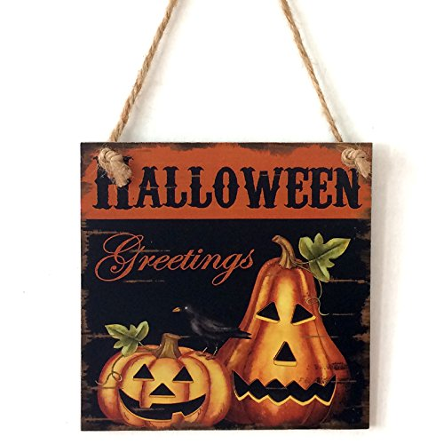 Scrabble Halloween Costumes (Zehui Halloween Greetings Plaque Wall Doorplate Hanging Board Ornaments Halloween Decoration Wooden Pumpkin Brothers)