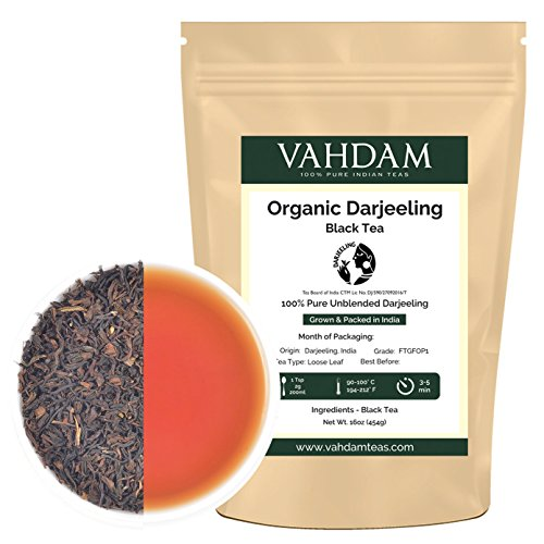 Organic  Darjeeling  Black Tea Leaves  from Himalayas (200+ Cups), Prime Second Flush Tea, 100% Certified Pure Unblended Darjeeling, Packed at Source in India, 16-Ounce Bag