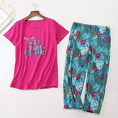 Traje de Pijama de Mujer Nueva de Primavera Camisa roja Rosa + pantalón Estampado Floral Mujer versión Coreana Suelta de Pijama de Ropa Casual de Mujer Suave, como se Muestra en la