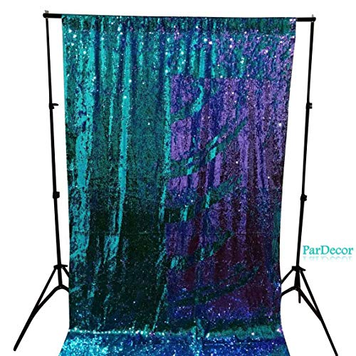 Sequin Curtain Backdrop Teal to Purple 2FTx3FT Reversible Shimmer Baby Shower Curtain Mermaid Photo Booth Background ~190531C (2FTX3FT, Teal to Purple)