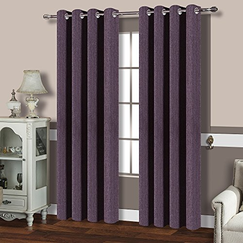 Eggplant Curtains (BEST DREAMCITY Window Treatment Room Darkening Thermal Insulated Solid Grommet Linen Look Blackout Curtain Panels for Bedroom, Set of 2, W52 by L84-Inches, Purple)