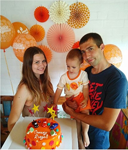 New Orange Set Paper Crafts Home Hanging Decoration Party Birthday Wedding Baby Shower Sunshine Bright Color Paper Fan