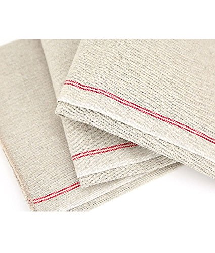 (Vollum Baker's Couche Proofing Cloth 25.5 Inch x 35 Inch, 100% Pure French Flax Linen with Red Stripe)