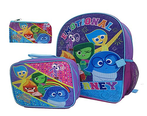 "Disney Pixar's Inside Out Ultimate Back to School 16"" Emotional Backpack and Lunch Tote with BONUS Pencil Case"