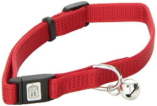 Catit Nylon Adjustable Cat Collar with Breakaway Snap, Red