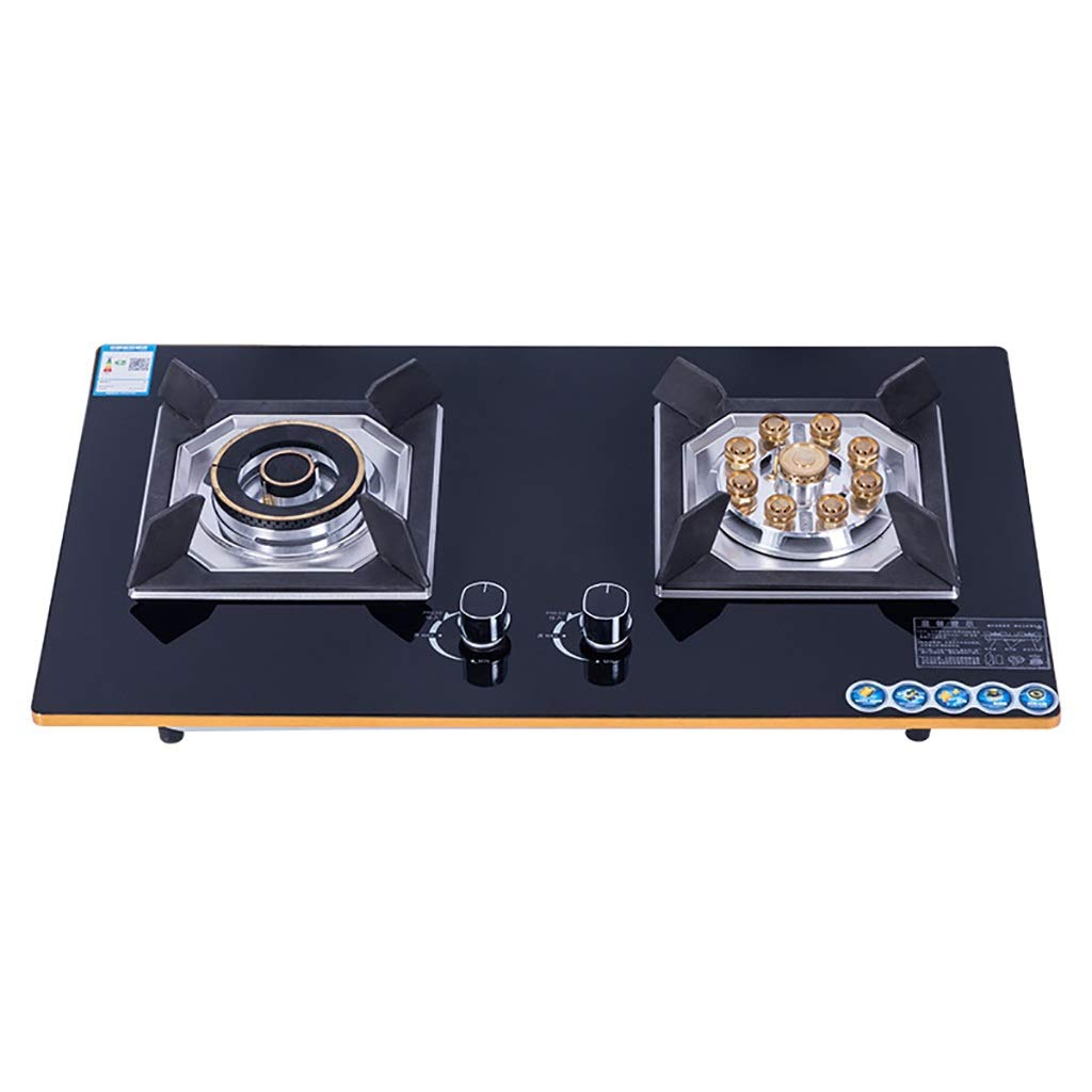 LQ-Stoves Gas Cooktops, Kitchen Energy-Saving Tempered Glass 2 Burner cooktop, Built-in, cooktop Dual-use Natural Gas Cooktops Size: 750X460mm by LQ-Stoves