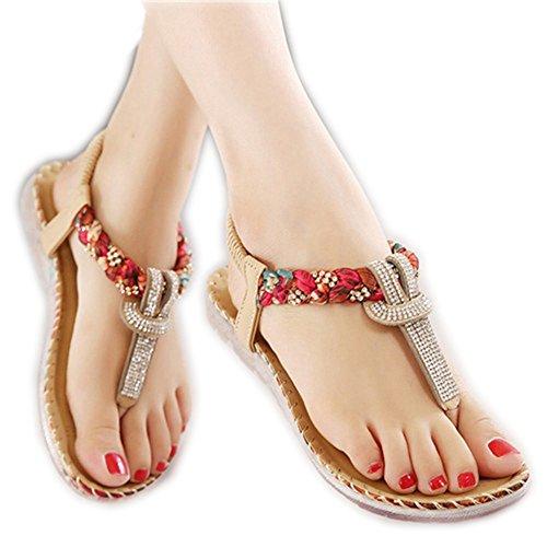 ZHOUZJ Sandals Flops Flat Beach Khaki Thongs Summer Shoes Women Slippers Flip fwqrzafX