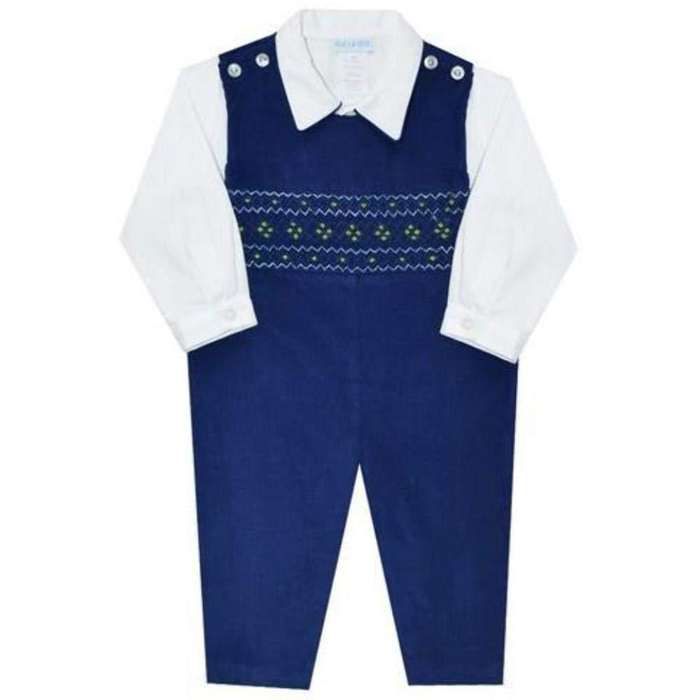 Vive La Fete Blue Geometric Smocked Boys Overall