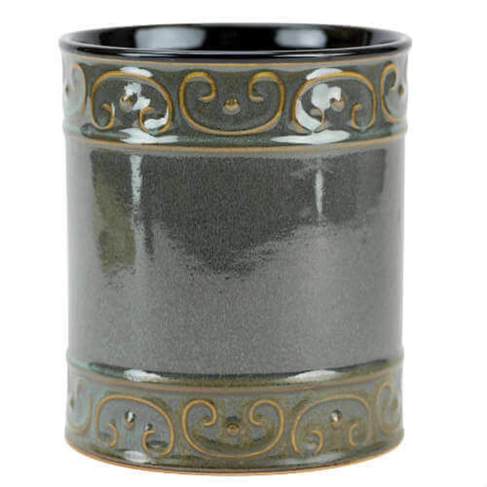 Boston Warehouse Embossed Green Reactive Utensil Holder