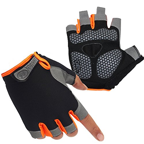 HuwaiH Cycling Gloves Men's/Women's Mountain Bike Gloves Half Finger Biking Gloves | Anti-slip Shock-absorbing Gel Pad Breathable Cycle Gloves (Black Orange, Large(Male))