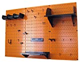 Wall Control 30-WRK-400 ORB Pegboard Organizer 4' Metal Standard Tool Storage Kit with Orange Tool Board and Black Accessories