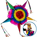 Extra Large Handmade Star Pinata + 30 Feet of Plastic Rope - Traditional Mexican Themed Party Decorations for Birthday Parties, Family Gatherings, Christmas, New Year's Eve, Holidays, Cinco de Mayo Fiesta, Work Events