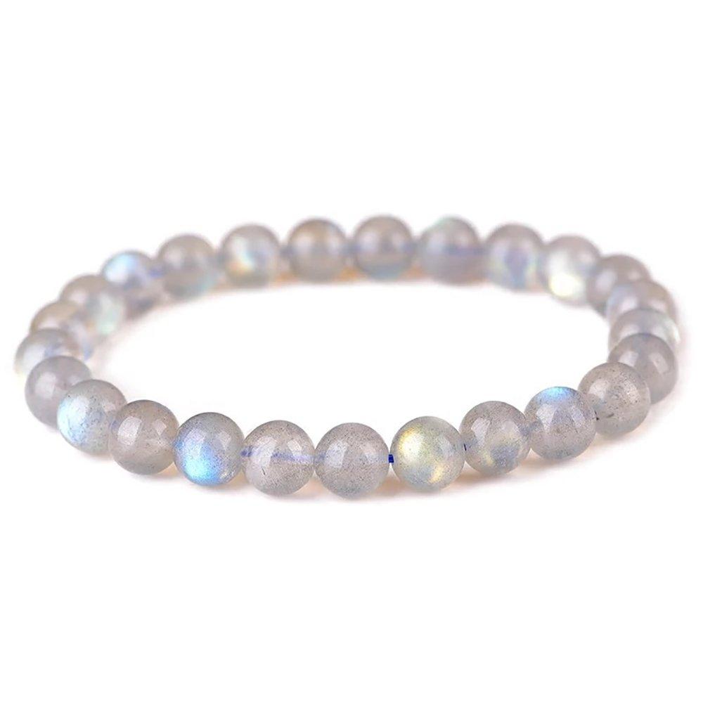 VEINTI+1 Natural Moonstone Crystal Energy Stretch Bracelet For Men/Women (7-7.2mm)