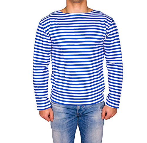 Genuine Russian Light Blue Striped Long Sleeved T-Shirt Top (Large - 42 inch) ()