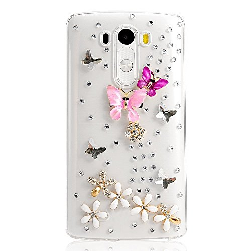 STENES LG G3 Stylus D690 Case - Luxurious Crystal 3D Handmade Sparkle Glitter Diamond Rhinestone Ultra-Thin Clear Cover With Retro Bowknot Anti Dust Plug - Dance Butterfly Flowers/Colorful (Lg G3 Phone Case With Rhinestones)