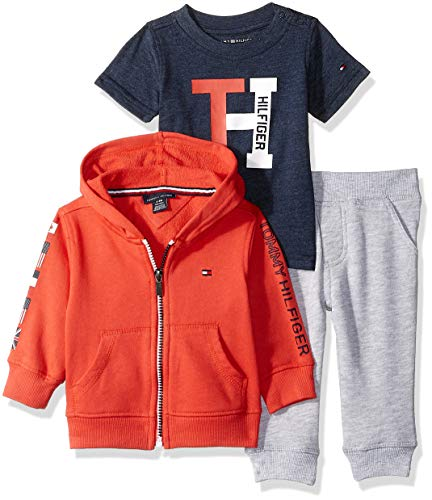 (Tommy Hilfiger Baby Boys 3 Pieces Jog Set, red/Blue/Gray 6-9 Months)