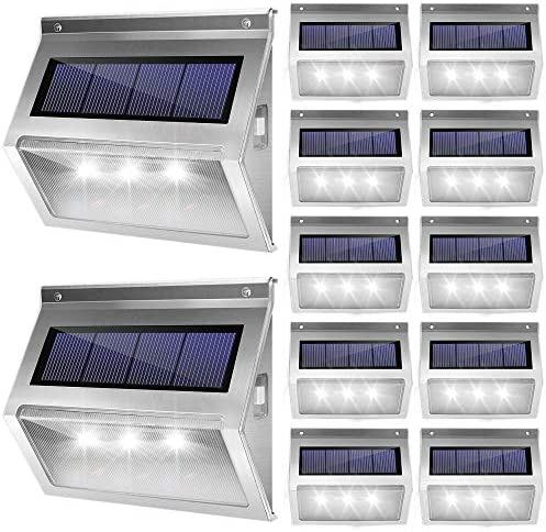 JACKYLED Upgrade Solar Step Lights 12 Pack Outdoor Deck Lights 3 LED Waterproof Stair Lights with Larger Solar Panel Outdoor Fence Light for Steps Stair Garden Fence Pathway Patio White Light