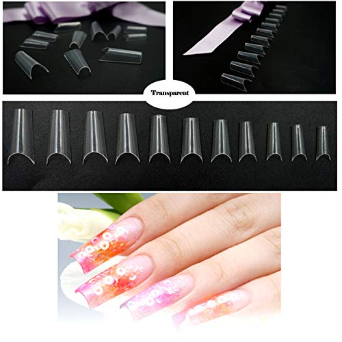 Curve Nail Tips - 500Pcs Baisidai Natural/Clear Color French False Nails Tips C Curve Shape Acrylic UV Gel False Tips 10 Sizes (Clear)