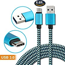 Myckuu 6.6FT Type C Braided Data Charge/Sync Cord USB Type C to USB Type A 6.6FT with Reversible Connector for New MacBook, ChromeBook Pixel, Nokia N1 Tablet, Asus Zen AiO (blue)