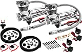 Vixen Air 200 PSI Heavy Duty Suspension/Air Ride/Bag/Train Horn Air Compressor/Pump with 3/8'' Braided Hose, 3/8'' NPT Check Valve and Remote Mount Air Filter Kit 12V Chrome (Dual Pack) VXC480CDP