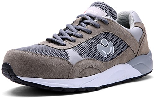 Work Safety Construction Shoes,Modyf Mens Steel Toe Outdoor Footwear Gray